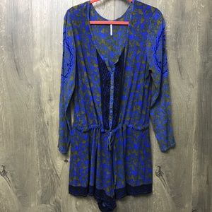 Free People Long Sleeves Button Front Romper